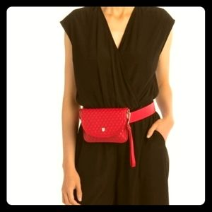 Vince Camuto Red Quilted Belt Bag Clutch NWT